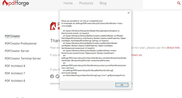 error pdf instalação