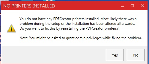 pdfcreator no printer installed